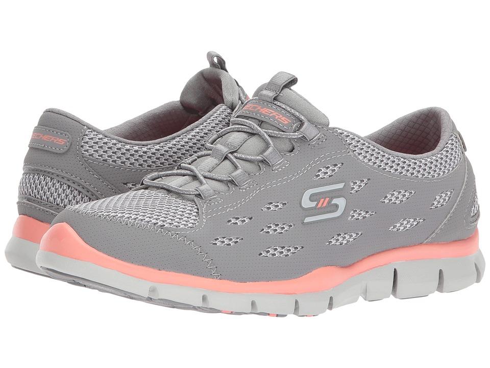 SKECHERS - Gratis - Breezy City (Gray/Coral) Womens Shoes