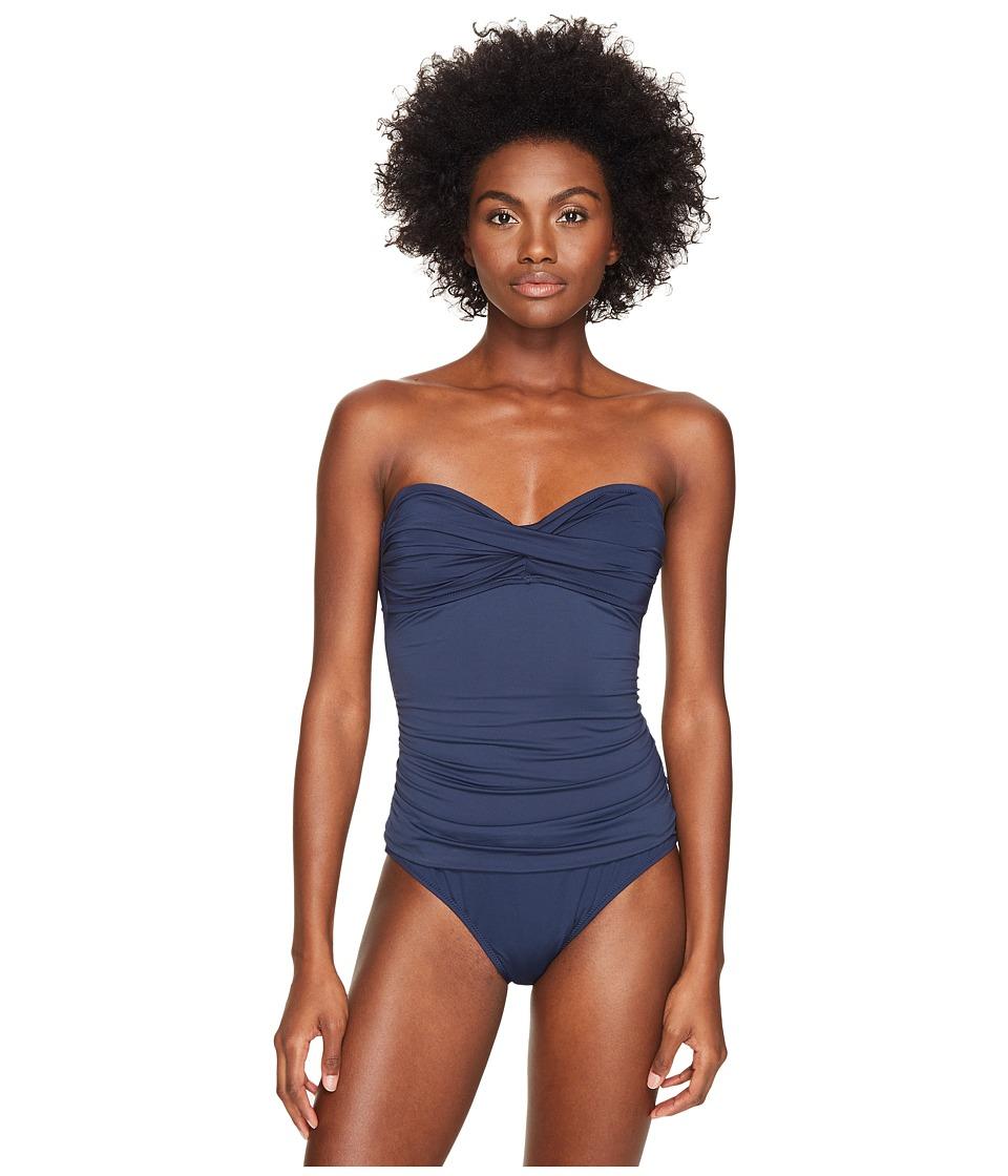 Letarte Bandeau One-Piece (Dusty Navy) Women's Swimsuits ...