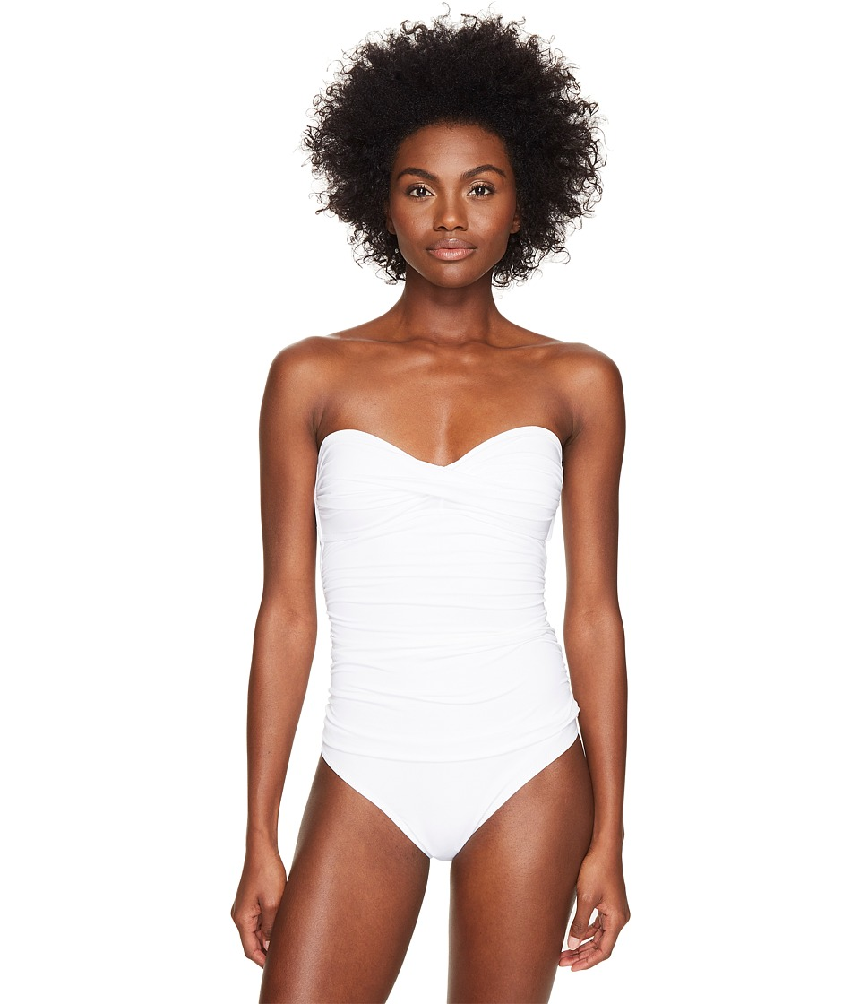Letarte Bandeau One-Piece (White) Women's Swimsuits One Piece