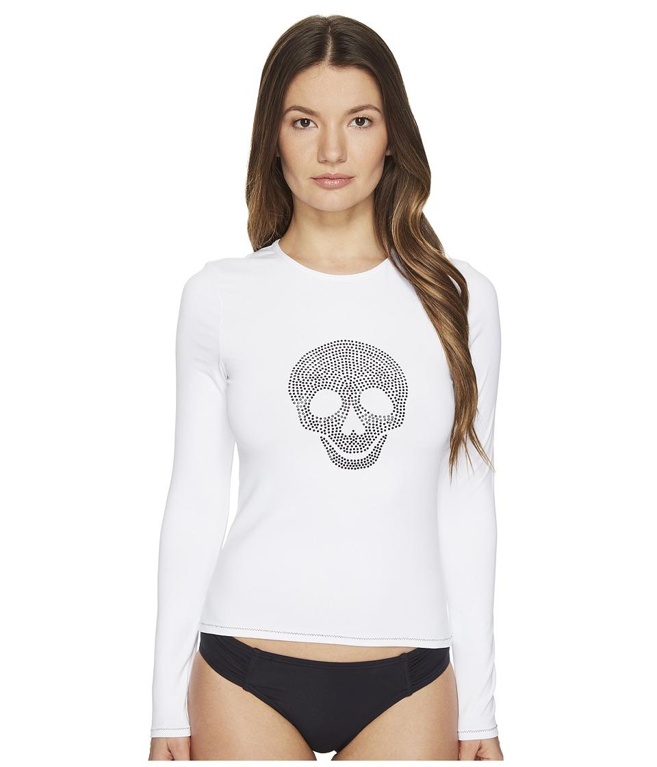 Letarte - Studded Skull Rashguard (White) Womens Swimwear