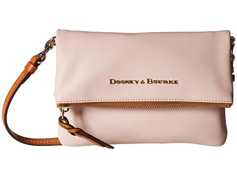 Dooney & Bourke City Foldover Zip Crossbody - Blush w/ Tan Trim