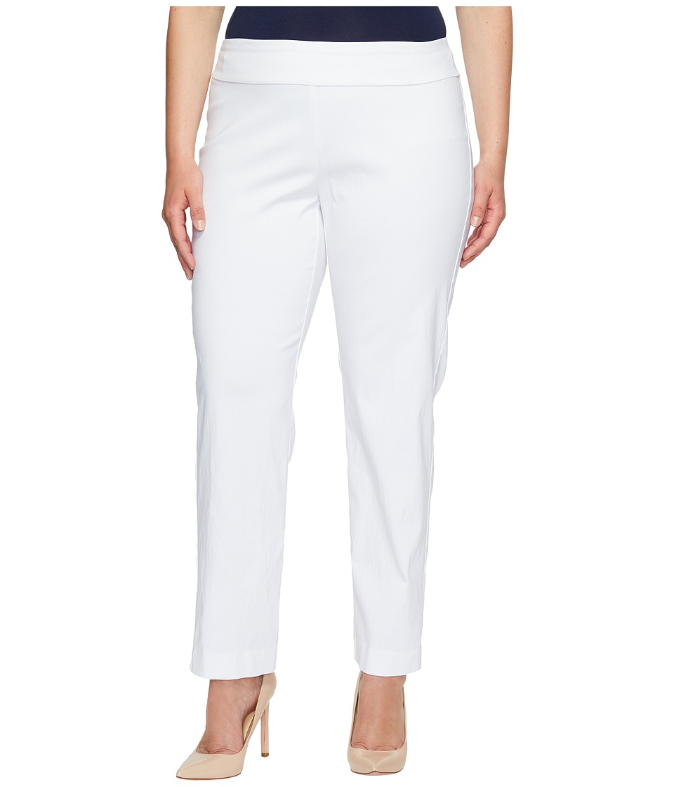 Krazy Larry - Plus Size Pull-On Ankle Pants (White) Women...