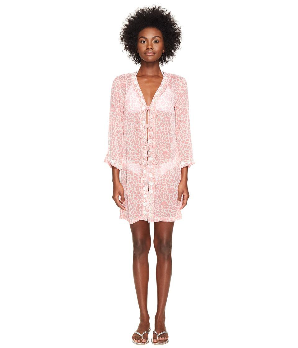 Letarte Long Sleeve Tie Front Tunic (Pink Multi) Women