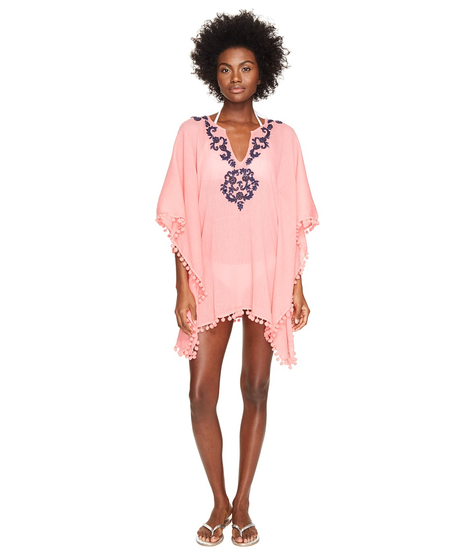 Letarte Embroidered Poncho (Pink Coral) Women