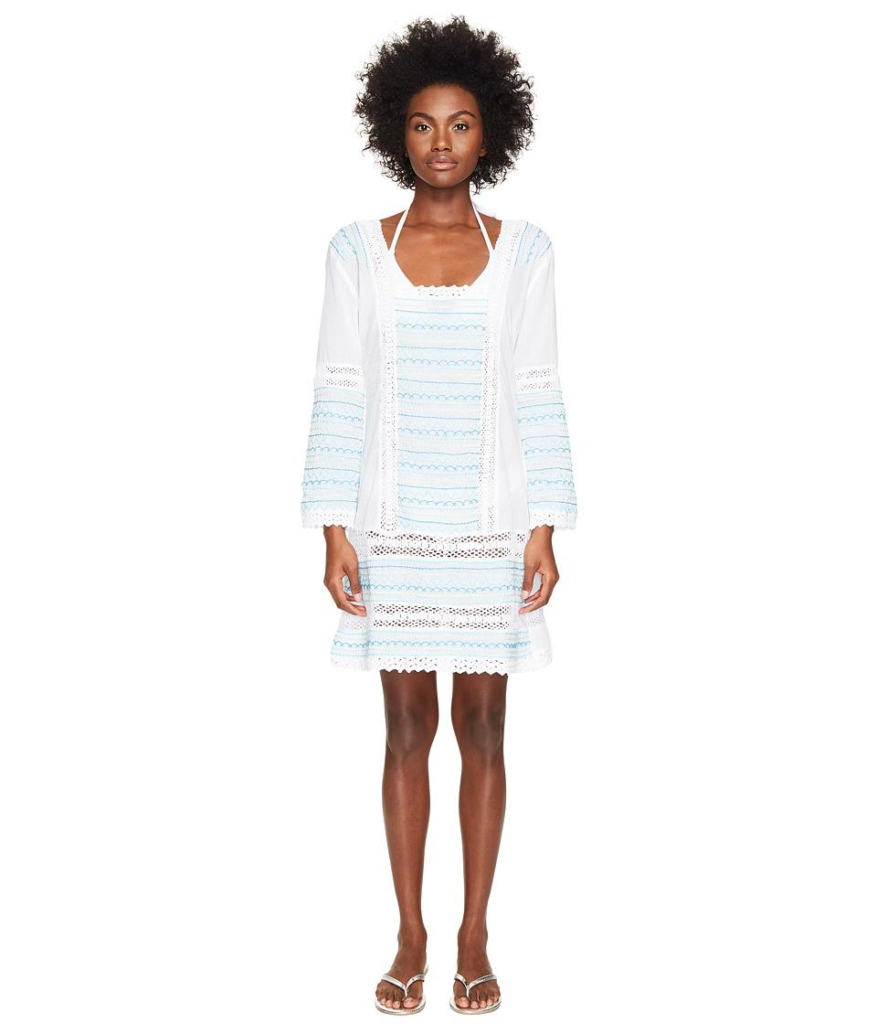Letarte Embroidered Long Sleeve Tunic Dress (White Multi) Women