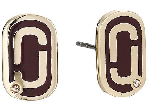 Marc Jacobs Icon Enamel Studs Earrings - Deep Bordeaux