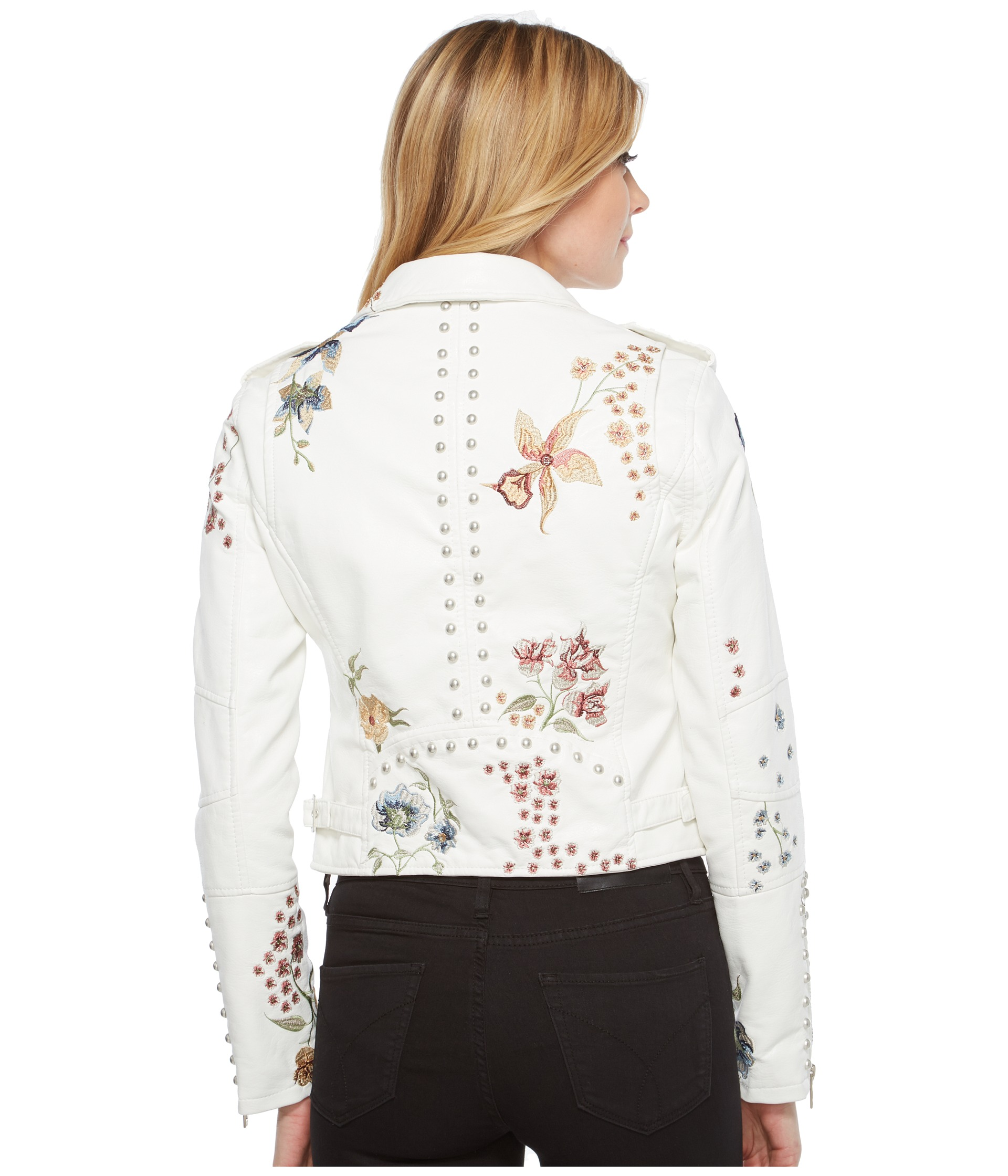 Blank NYC White Floral Embroidered Moto Jacket In