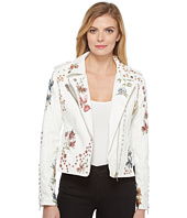 Blank NYC - White Floral Embroidered Moto Jacket in Midsummer Dream