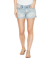 Blank NYC - Longer Destructed Light Wash Denim Shorts in Pool Boy