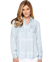 Tribal - Printed Lace Lyocell Denim Shirt