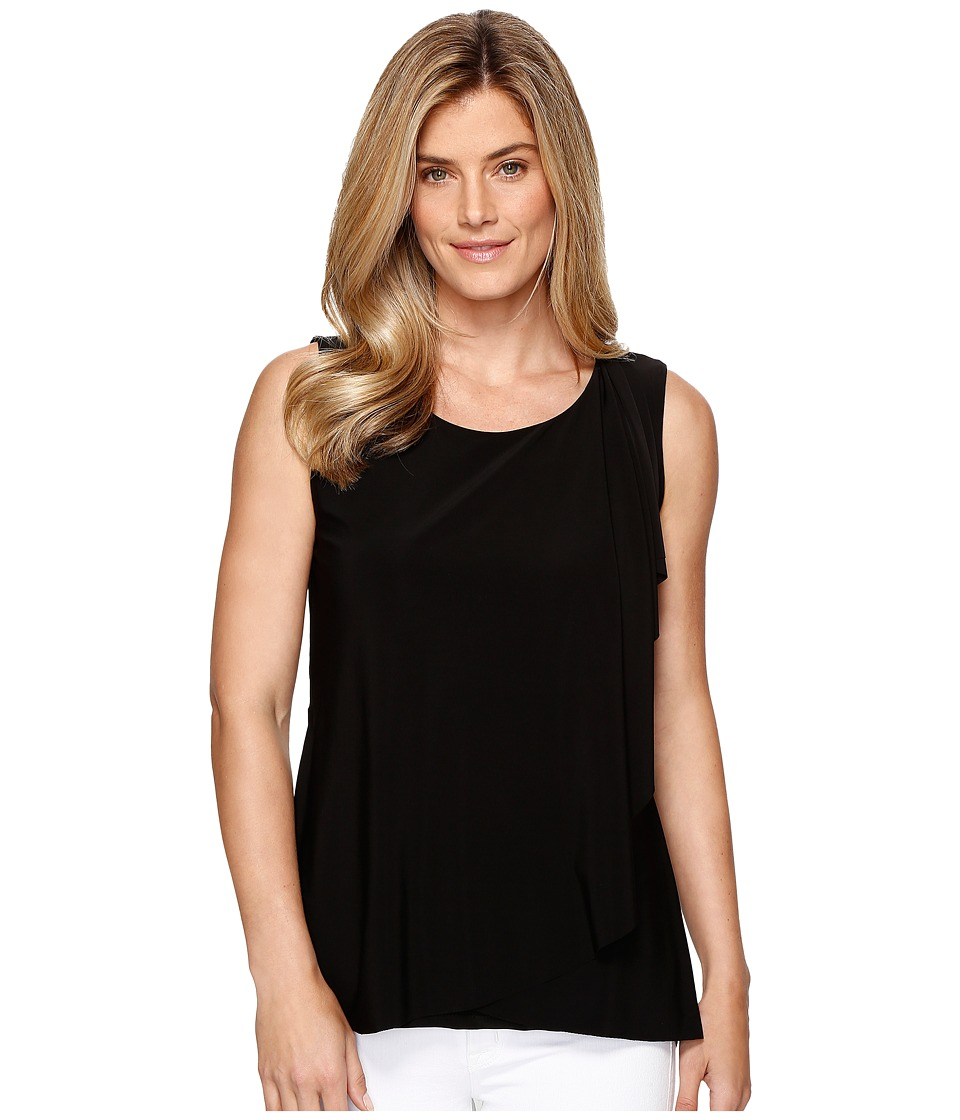 Tribal Travel Pack and Go Jersey Draped Front Tank Top (Black) Women