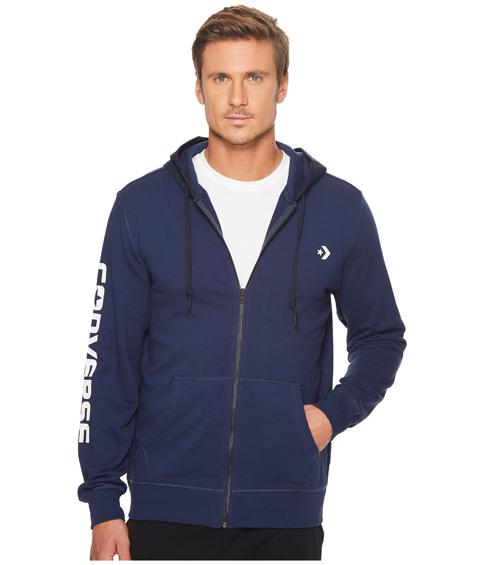 Converse - Mixed Media Full Zip Hoodie (Navy) Men's Sweatshirt