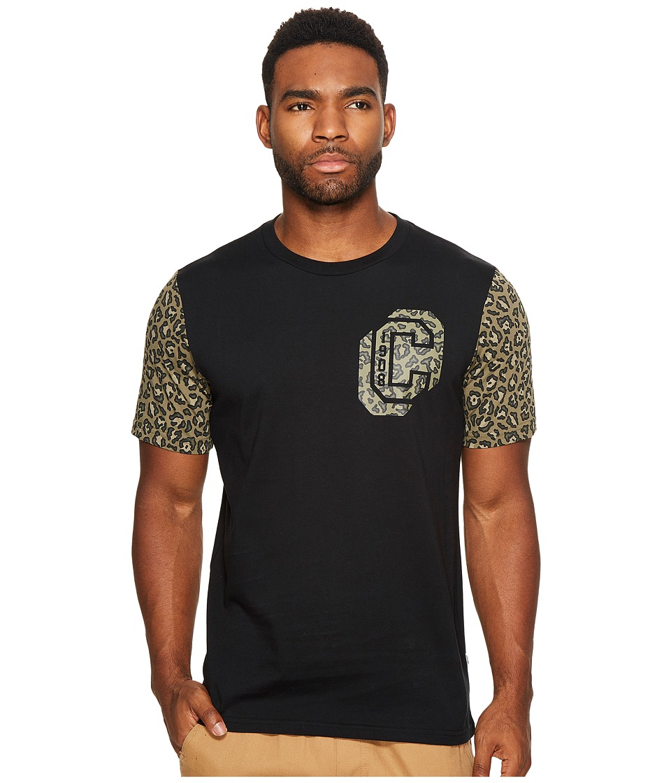 Converse Leopard Collegiate Short Sleeve Tee (Black) Men