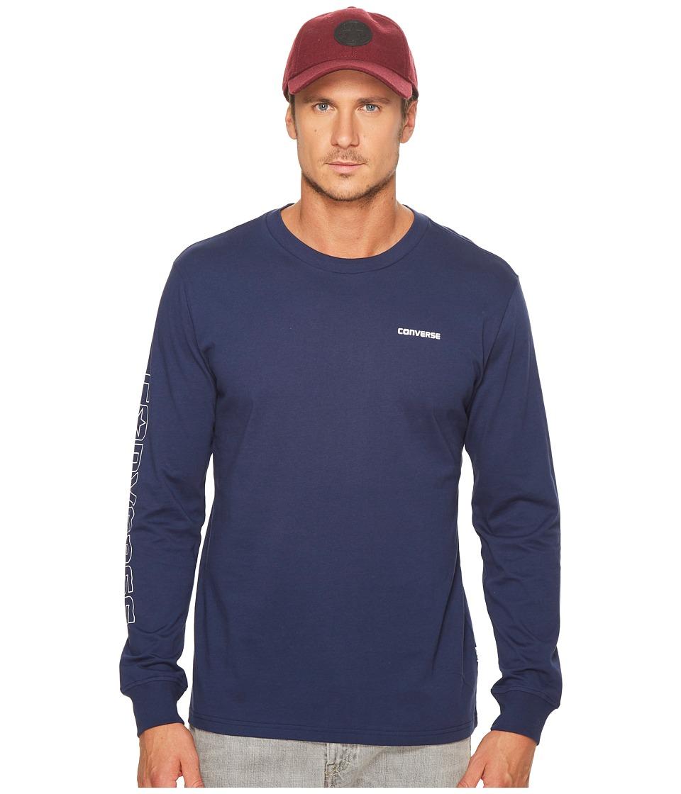 Converse - Long Sleeve Graphic Wordmark Tee (Navy) Mens T Shirt