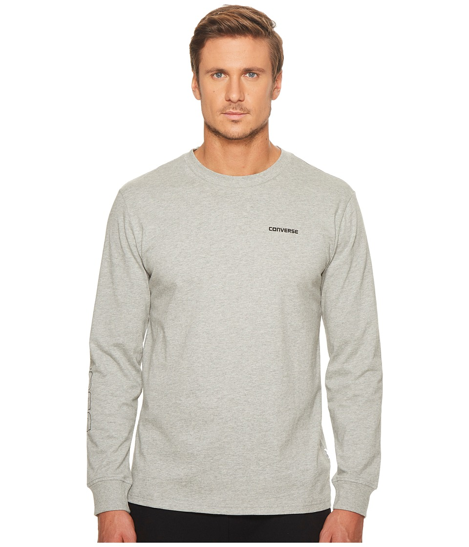 Converse Long Sleeve Graphic Wordmark Tee (Vintage Grey Heather) Men
