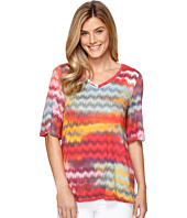 Tribal - Printed Slub Jersey Flutter Sleeve V-Neck Top
