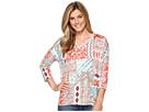 Printed Jersey 3/4 Sleeve Drop Shoulder V-Neck Top