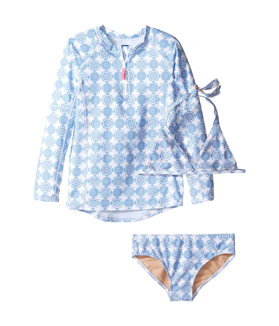 Toobydoo Delft Blue Rashguard Set (Infant/Toddler/Little Kids/Big Kids) (Blue/White) Girl