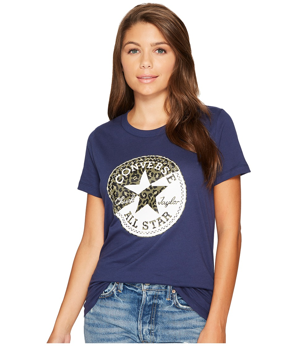 Converse Spliced Leopard Chuck Patch Short Sleeve Crew Tee (Navy) Women