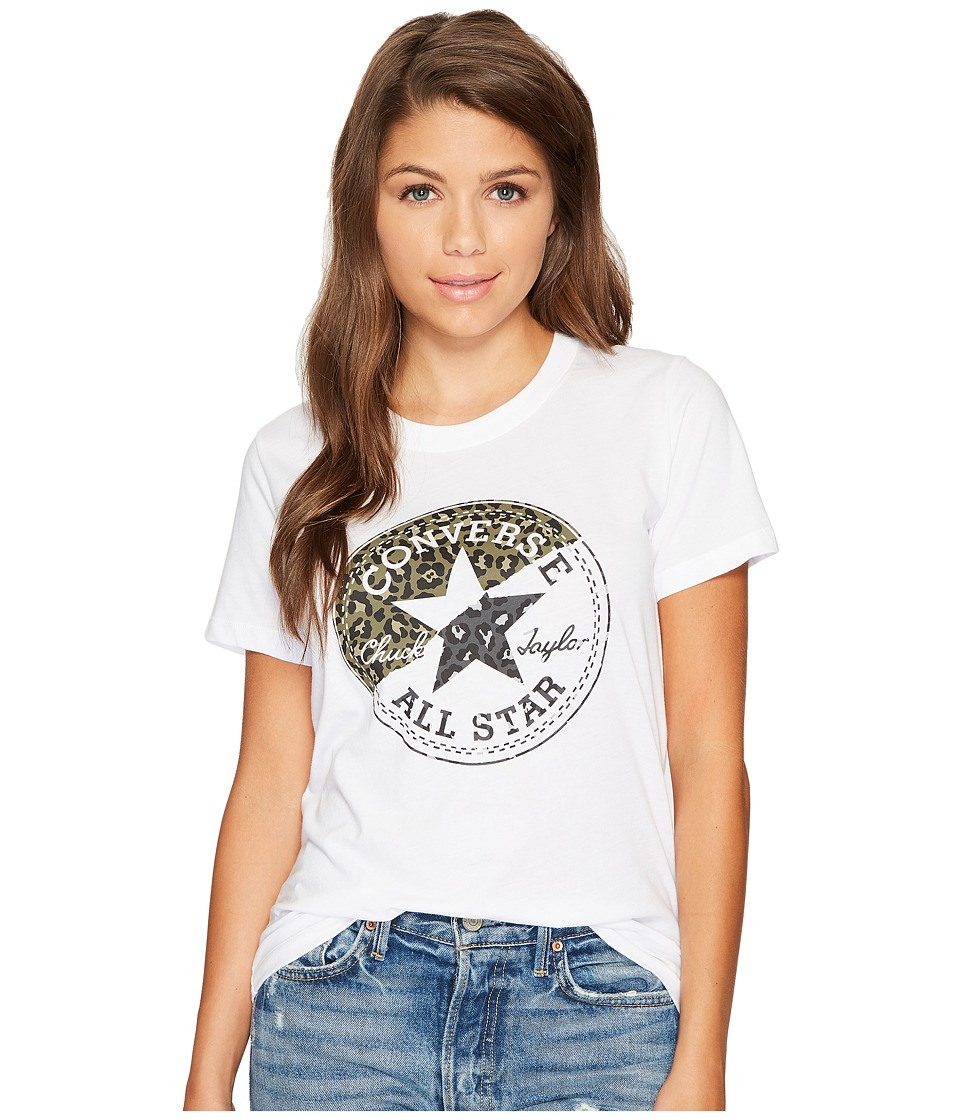 Converse Spliced Leopard Chuck Patch Short Sleeve Crew Tee (White) Women