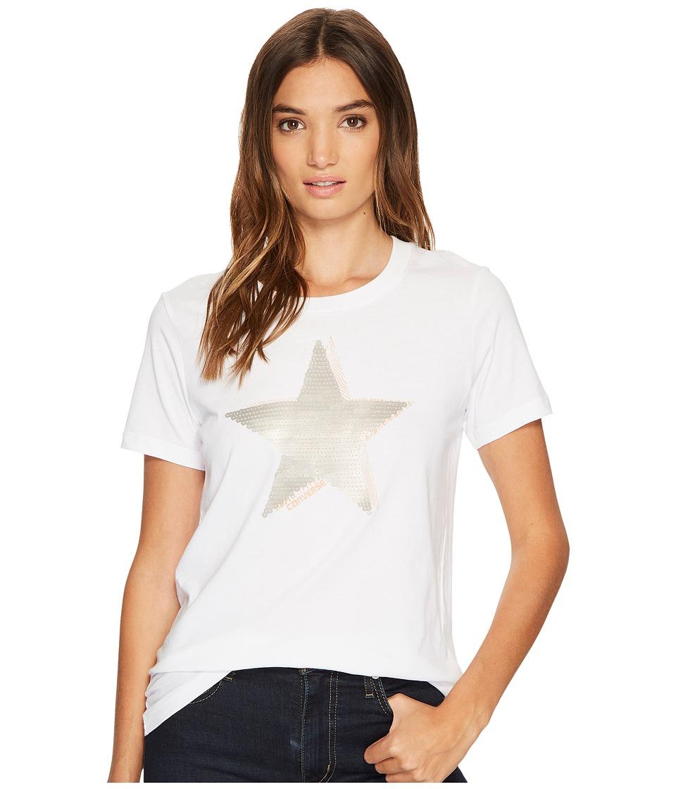 Converse Matte Sequin Star Short Sleeve Tee (White) Women