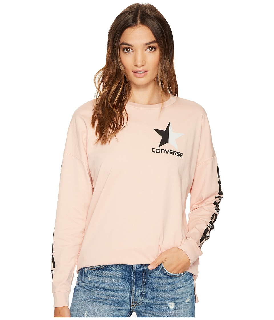 Converse - Split Star Wordmark Long Sleeve Crew Tee (Dusk Pink) Women's T Shirt