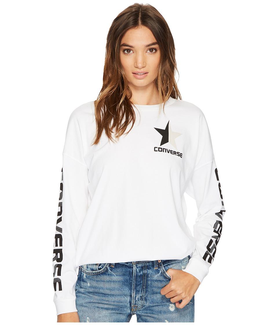 Converse Split Star Wordmark Long Sleeve Crew Tee (White) Women