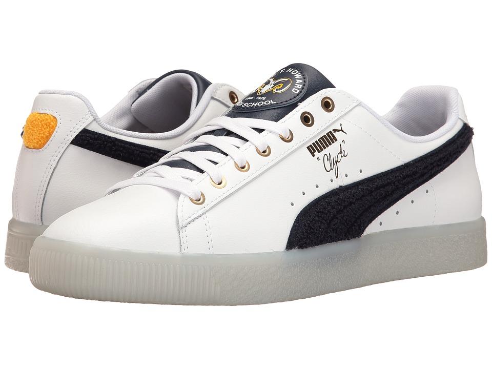 PUMA Clyde Leather BHM (Puma White/Puma New Navy/Spectra Yellow) Men