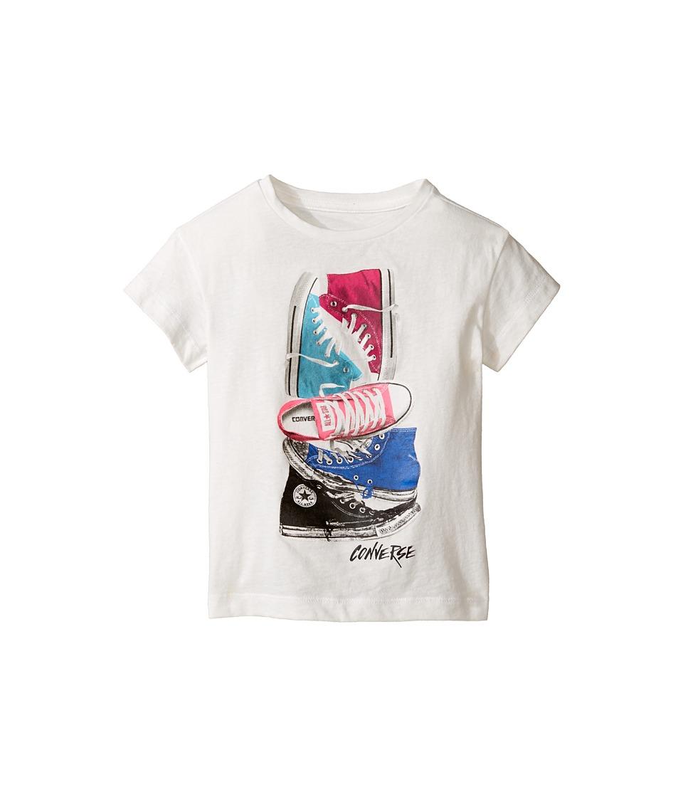 Converse Kids Stackerd Chuck II Tee (Toddler/Little Kids) (White Snow Yarn) Girl