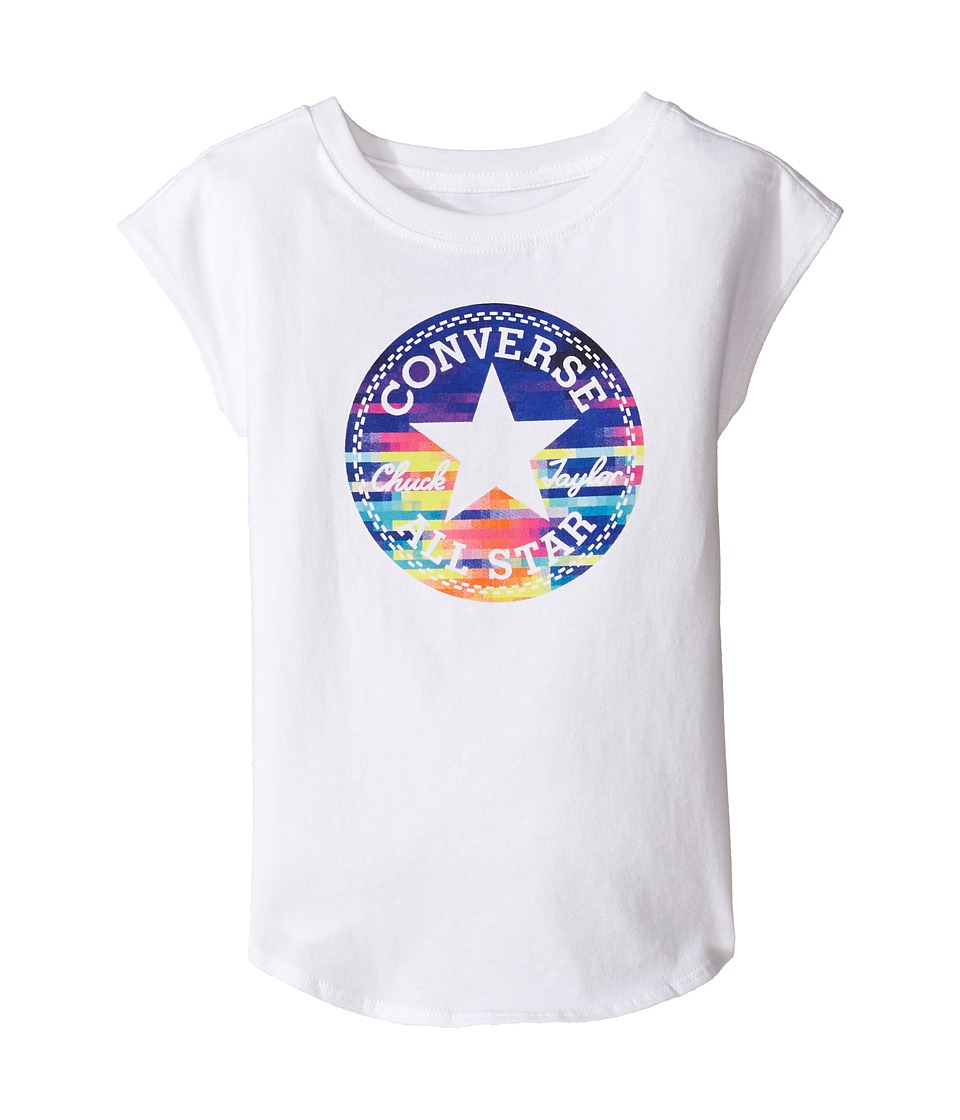 Converse Kids Printed Chuck Patch Tee (Toddler/Little Kids) (White) Girl
