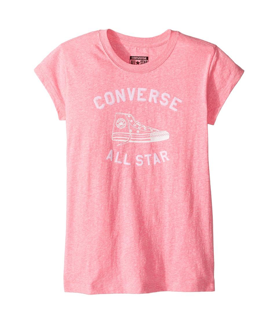 Converse Kids Varsity All Star Tee (Big Kids) (Neo Pink Snow Heather) Girl