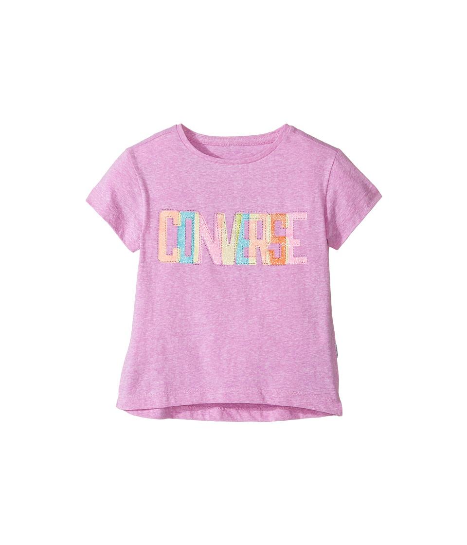 Converse Kids Neon Lights Boxy Tee (Toddler/Little Kids) (Fuchsia Glow Snow Heather) Girl