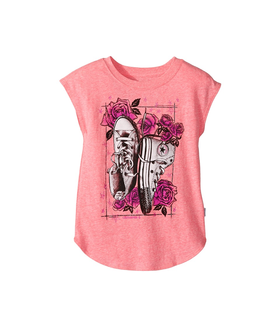 Converse Kids Chucks N Roses Tee (Toddler/Little Kids) (Neo Pink Snow Heather) Girl