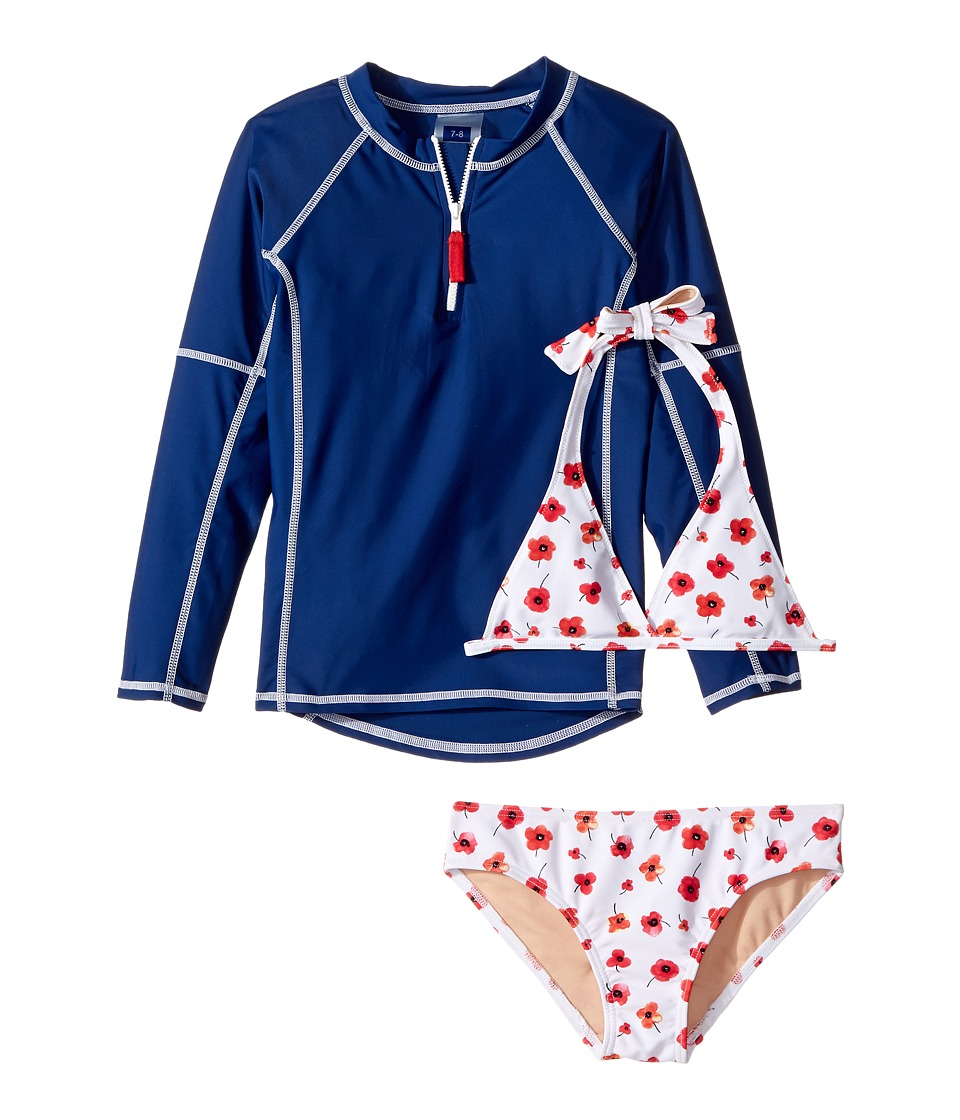 Toobydoo Poppy Flower Rashguard Set (Infant/Toddler/Little Kids/Big Kids) (Red Floral/Navy/White) Girl