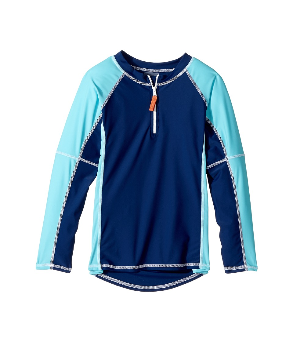 Toobydoo Aqua Rashguard (Infant/Toddler/Little Kids/Big Kids) (Aqua/Navy) Girl