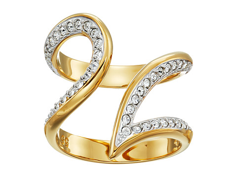 Swarovski Groove Ring Wide - Gold/White