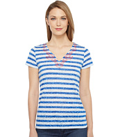 Tribal - Striped Knit Burnout Short Sleeve Embroidered Neckline Top