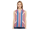 Printed Sleeveless Blouse w/ Beads At Neck