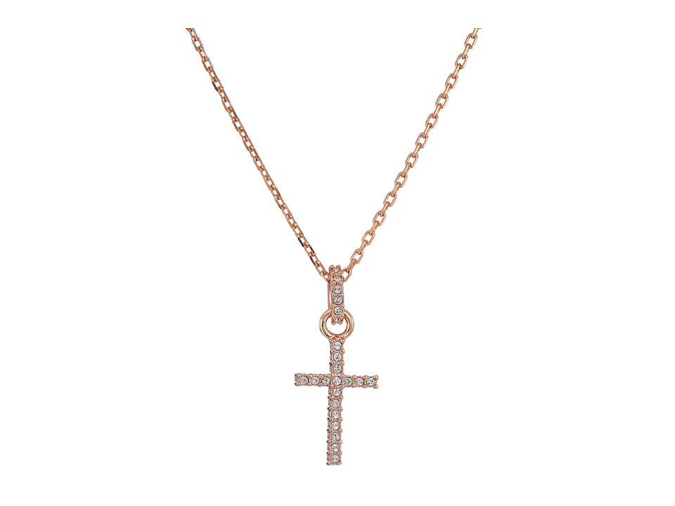 Swarovski Mini Cross Pendant Necklace (Rose/White) Necklace