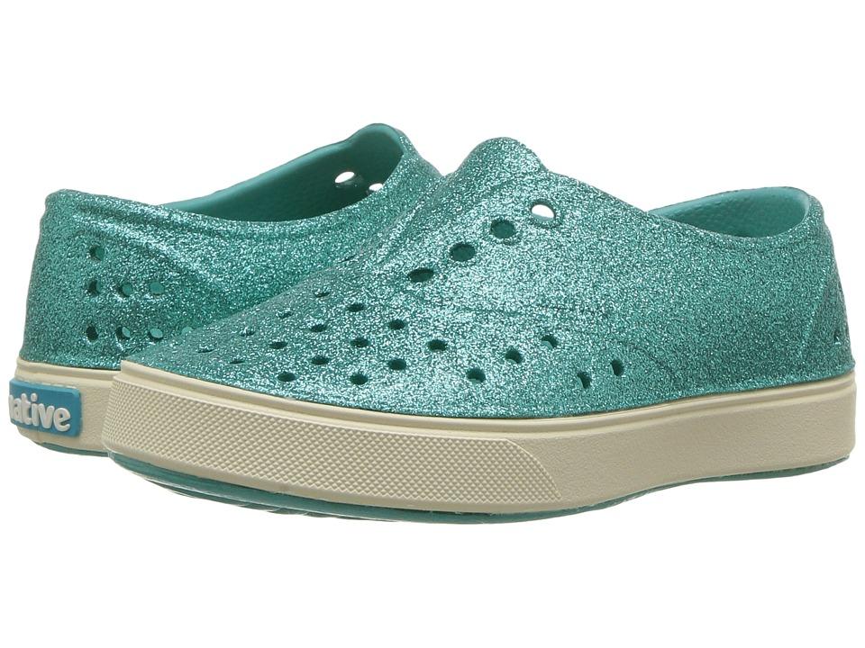 Native Kids Shoes Miller Bling (Toddler/Little Kid) (Pool Blue Bling/Bone White) Girl's Shoes
