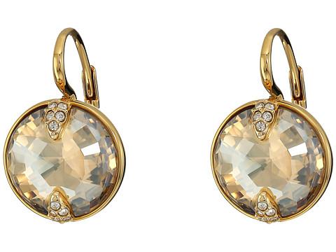 Swarovski Globe Pierced Earrings - Gold/Brown