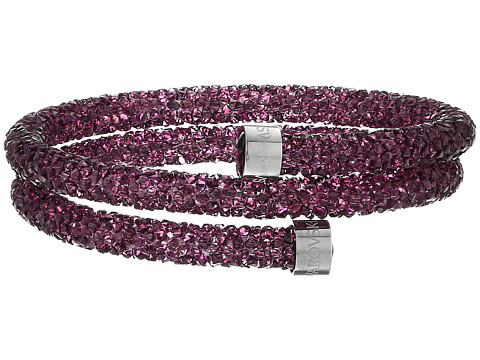 Swarovski Crystaldust Heart Double Bangle Bracelet - Purple