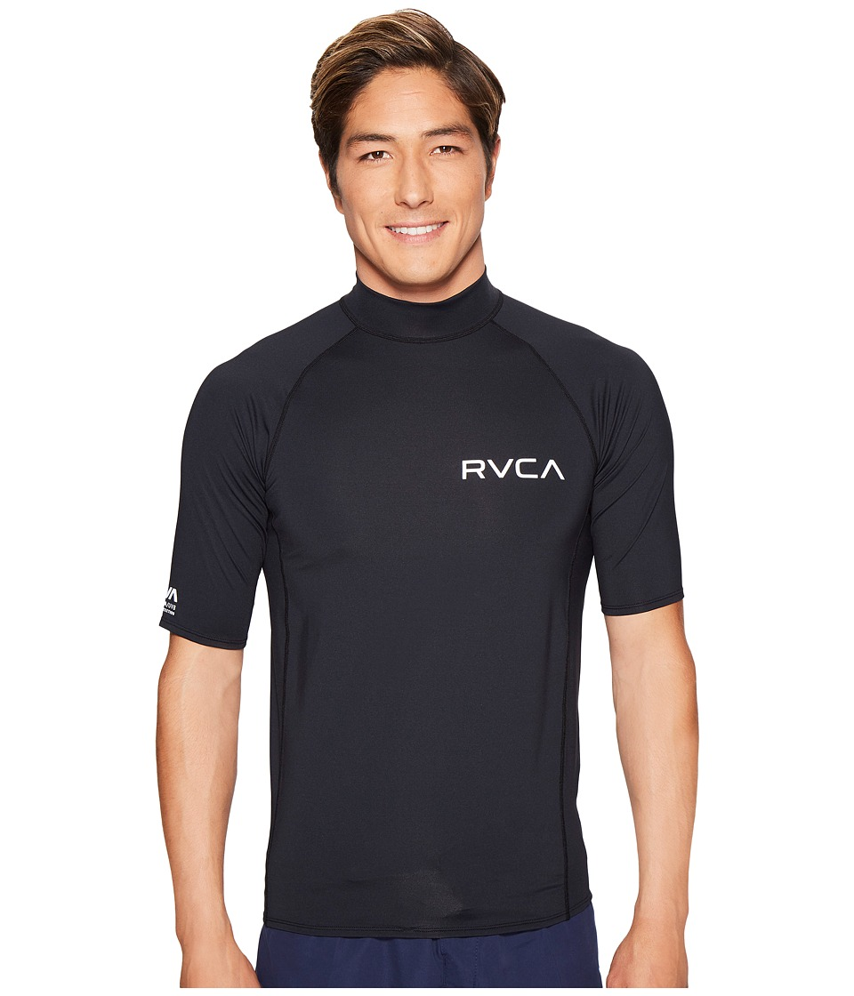 RVCA Solid Short Sleeve Rashguard (Black) Men