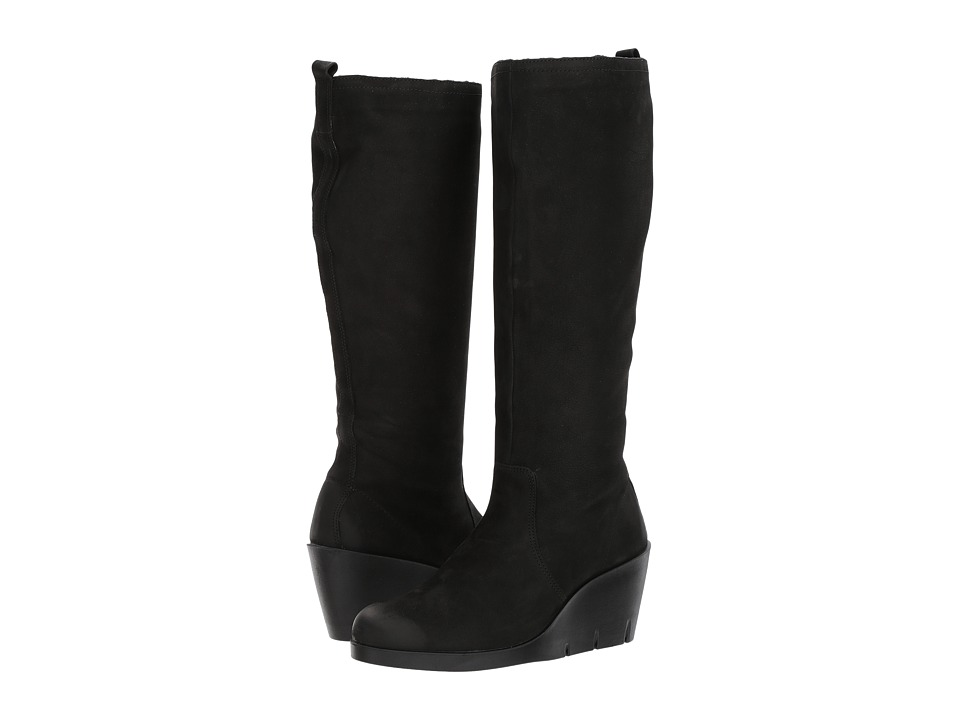 ECCO Bella Wedge Tall Boot (Black Cow Nubuck) Women