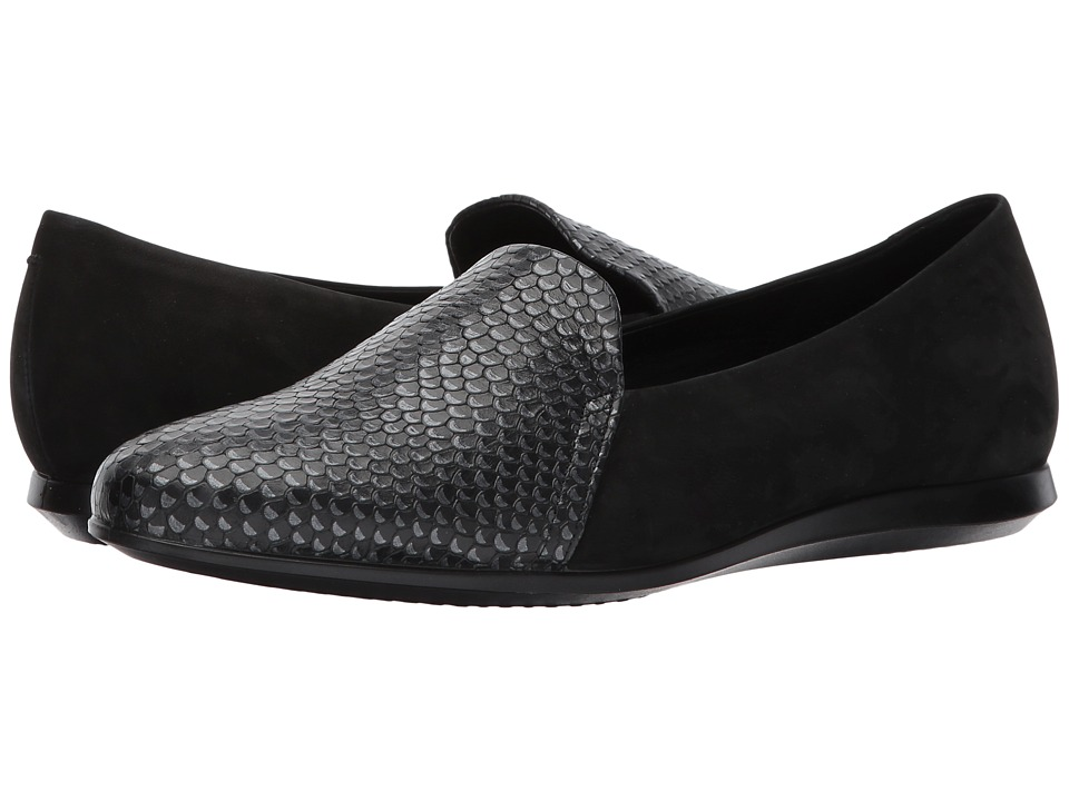 ECCO Touch Ballerina 2.0 Scale (Black/Buffed Silver/Black Cow Leather/Calf Nubuck) Slip-On Shoes
