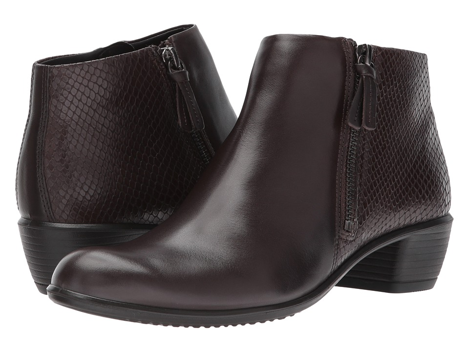 ECCO Touch 35 Bootie (Coffee/Coffee Cow Leather) Women