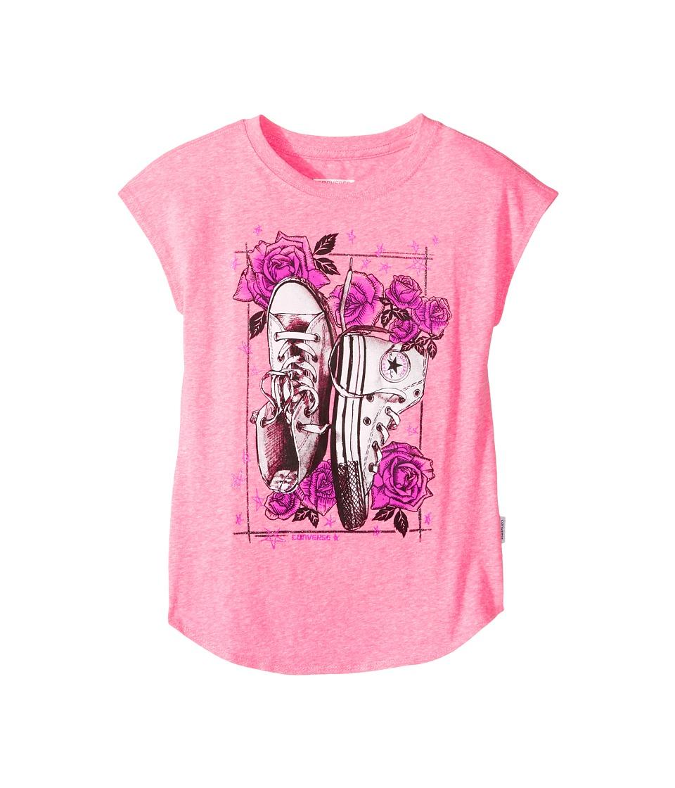Converse Kids Chucks N Roses Tee (Big Kids) (Neo Pink Snow Heather) Girl