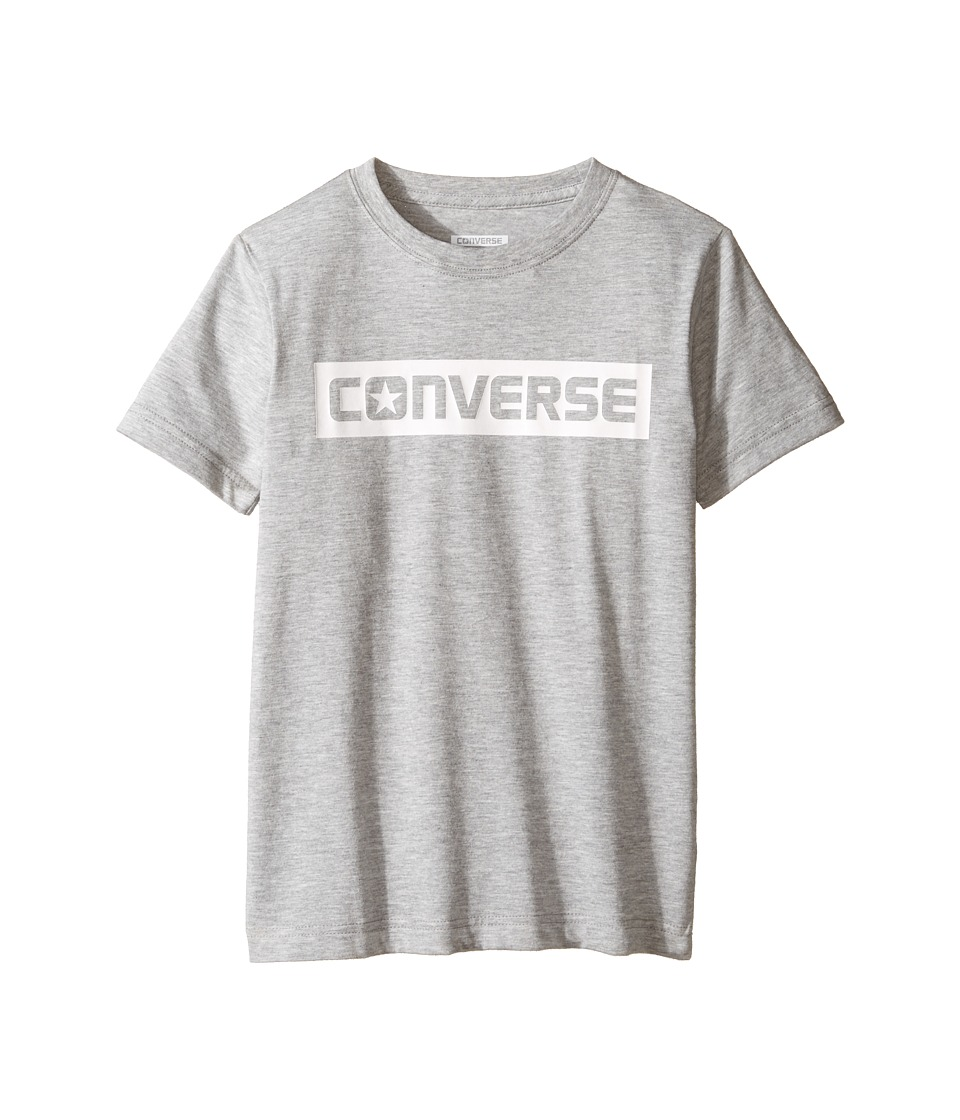 Converse Kids HD Wordmark Tee (Big Kids) (Dark Grey Heather) Boy