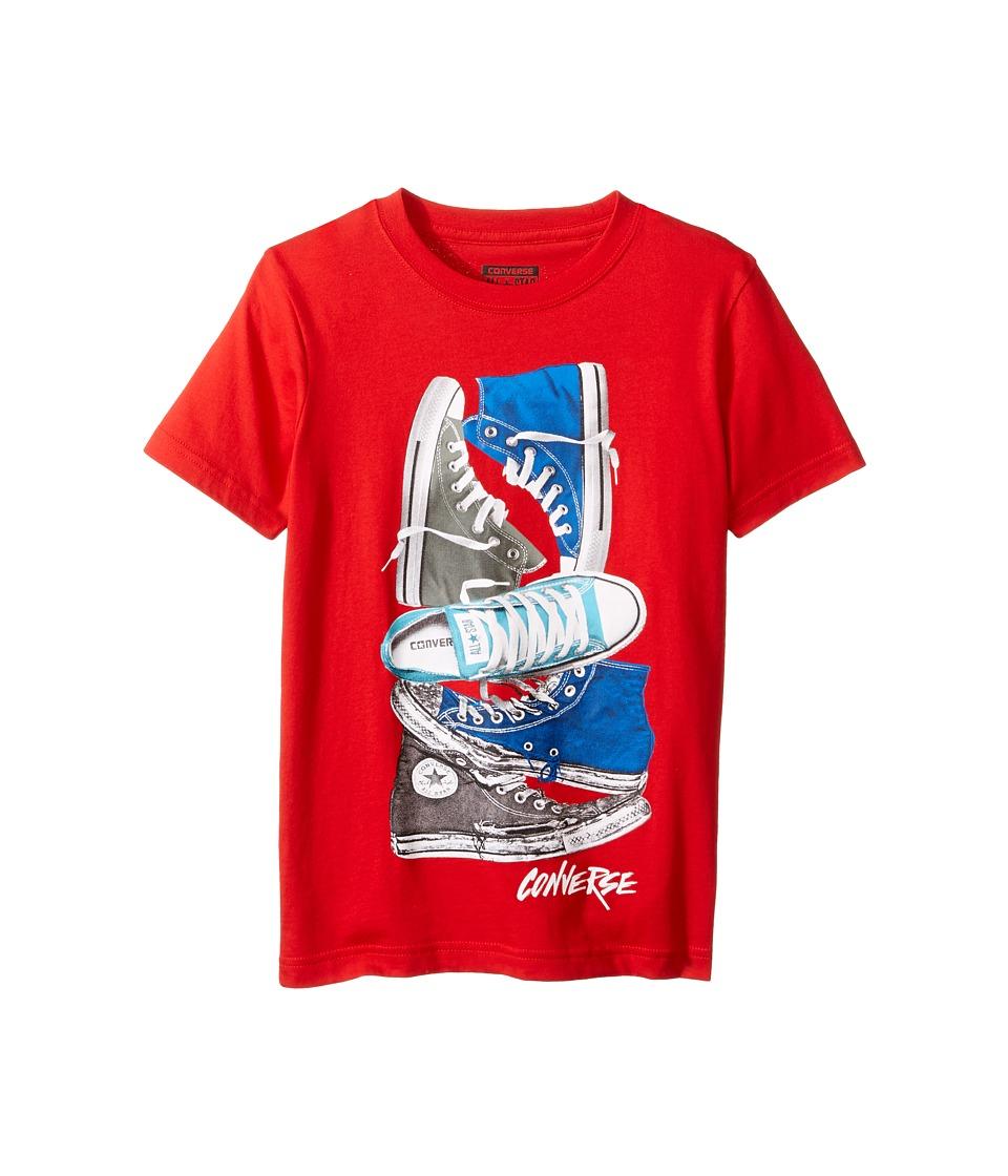 Converse Kids Stacked Remix Tee (Big Kids) (Red) Boy