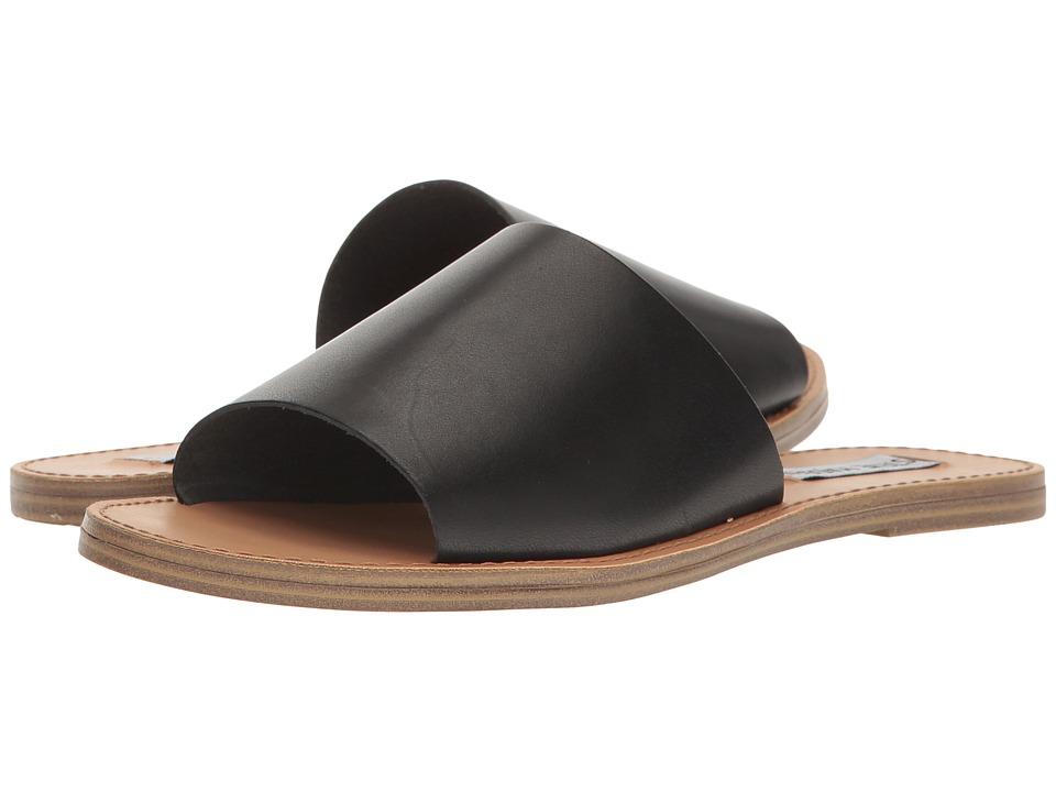 Steve Madden Grace Slide Sandal (Black Leather) Women's Shoes